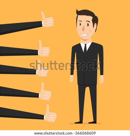 Hand with thumb up. Approval person - stock vector