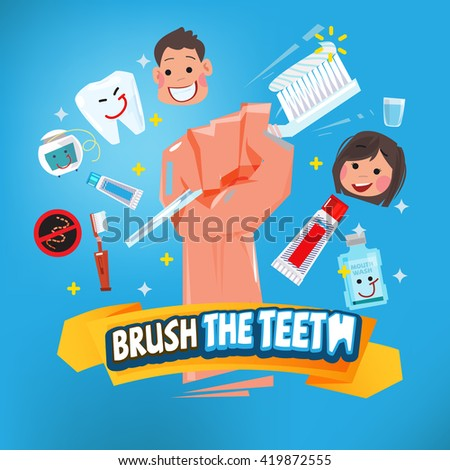 hand with toothbrush. healthy tooth concept - vector illustration - stock vector