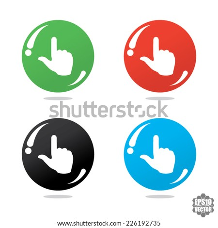 Hand with touching a button or pointing finger sign on colorful icon. Vector.