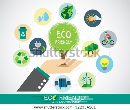 Hand with tree and ecology icon - stock vector