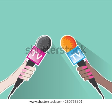 Hand with TV microphone vector - stock vector