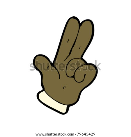 hand with two fingers pointing cartoon
