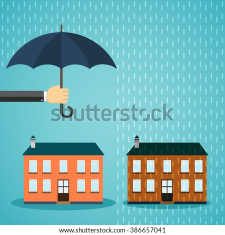 Hand with umbrella protecting house. Insurance, crisis, financial problems, mortgages and banking service
