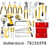Hand work tools set - stock vector