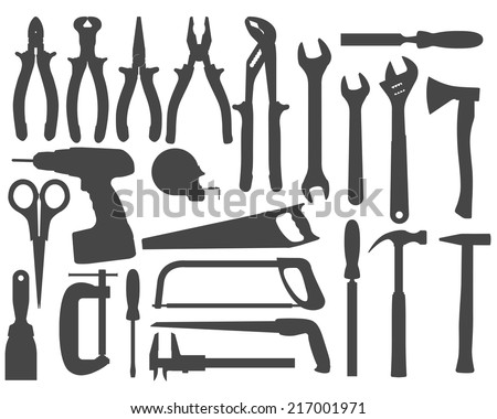 Hand work tools silhouette set  - stock vector