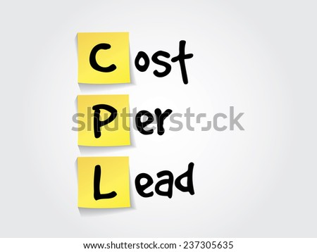 Hand writing acronym Cost Per Lead (CPL) on yellow sticky notes, business vector concept - stock vector