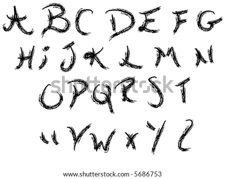Hand writing alphabet -  26 Individual Vector Letters grouped for easy use and coloring - stock vector