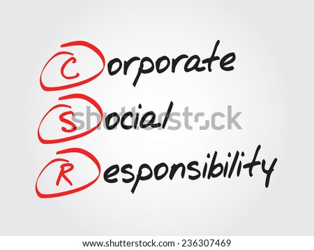 Hand writing Corporate Social Responsibility (CSR), vector business concept acronym - stock vector