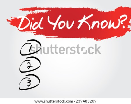 Hand writing Did You Know Blank List, vector concept background - stock vector