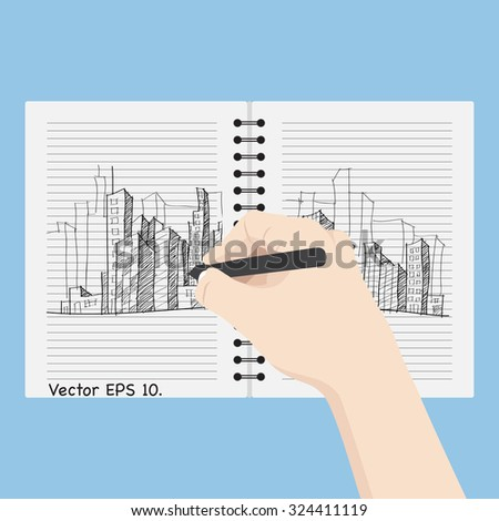 Hand writing Doodle Cityscape on the notebook, Vector Illustration EPS 10. - stock vector