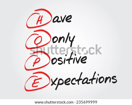Hand writing HOPE, vector business concept acronym
