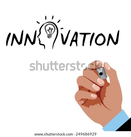 Hand writing Innovation with black marker  - stock vector