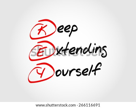 Hand writing KEY - keep extending yourself, acronym business concept - stock vector