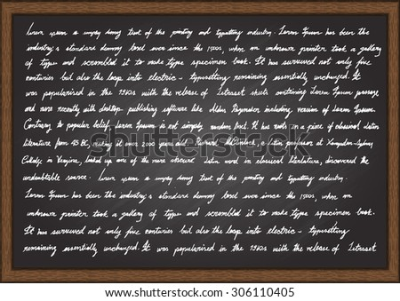 Hand writing Lorem Ipsum articles on chalkboard. - stock vector
