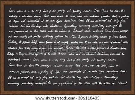 Hand writing Lorem Ipsum articles on chalkboard. - stock vector