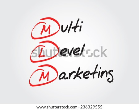 Hand writing multi level marketing (MLM), vector business concept acronym