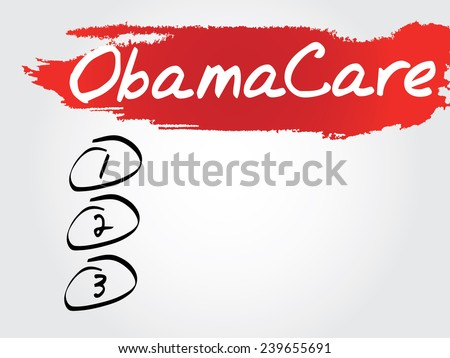 Hand writing ObamaCare Blank List, vector concept background - stock vector