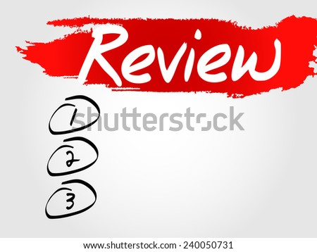 Hand writing Review Blank List, vector business concept background - stock vector