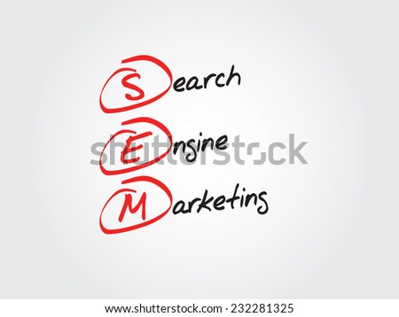 Hand writing SEM Search Engine Marketing vector concept, flow chart - stock vector