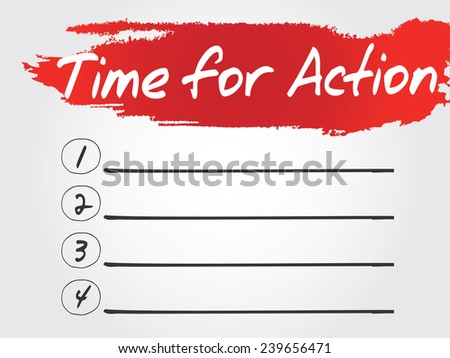 Hand writing Time for Action Blank List, vector concept background - stock vector
