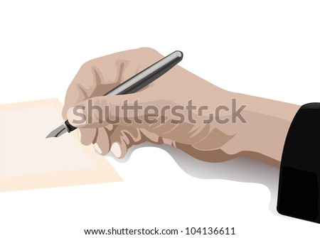 hand writing with pen on blank paper isolated on white - stock vector