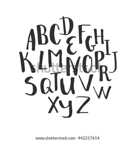 Hand Written Alphabet Modern Calligraphy Font Vector Letters Isolated And Easy To Use