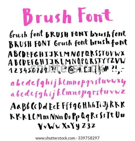 Hand Written Brush Script Alphabet With Many Variations Of Letters In Vector Creative Writing