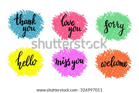Hand written calligraphy style short messages set. Lettering thank you, sorry, love you, hello, miss you, welcome. Design elements for postcard poster typography. - stock vector
