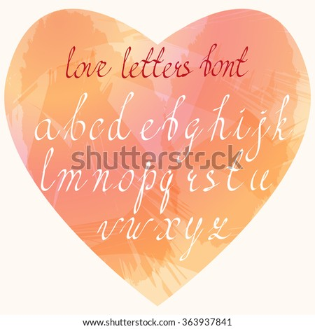 Hand written cursive Latin letters in lower case placed in heart shaped watercolor stains imitation. Handmade Love letters font. Clean, easy to edit. - stock vector