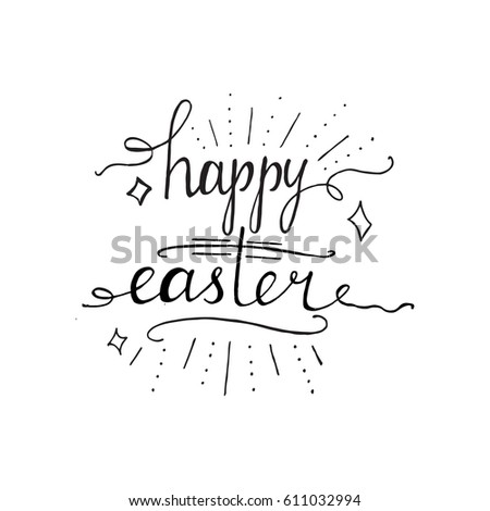 Hand written easter phrases greeting card stock vector 611032994 hand written easter phrases eeting card text templates with easter eggs isolated on white background m4hsunfo