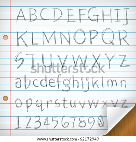 Hand-written Fonts on Single Line Paper - stock vector