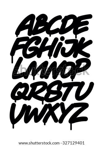 Hand written graffiti font alphabet. Vector - stock vector