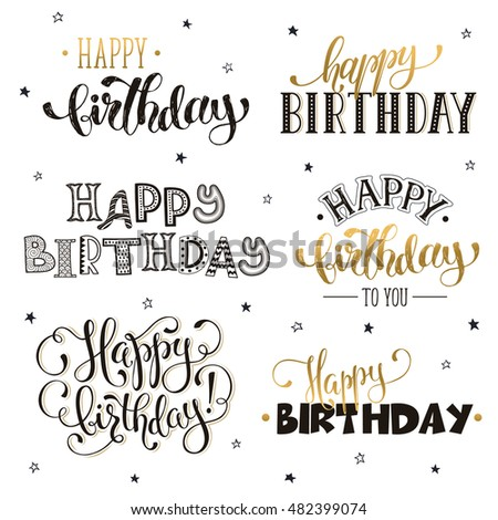 Hand Written Happy Birthday Phrases In Gold Greeting Card Text Templates Isolated On White Background