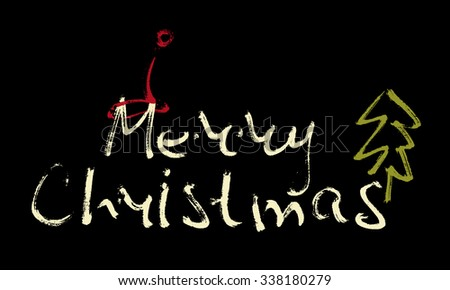 Hand written inscription Merry Christmas on black background with Christmas cap and tree. Design element for banner, card, invitation, label, t-shirt, postcard, poster. Scribble vector illustration. - stock vector