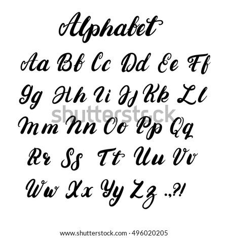 Hand Written Lowercase Uppercase Calligraphy Alphabet