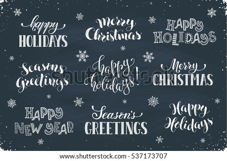 Hand written new year phrases greeting stock vector 537173707 hand written new year phrases greeting card text template with snowflakes drawn on chalkboard m4hsunfo