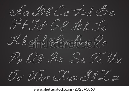 Hand written or hand drawn letters, script letters. Calligraphy letters.  - stock vector