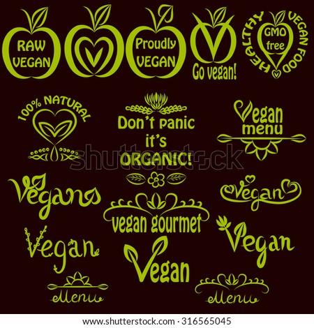 Hand written set of vegan logos, vegan text labels for menus, food labels, and food packaging - stock vector