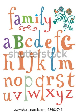 Hand written sweet alphabet. - stock vector