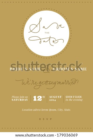 Hand written wedding invitation - Save the Date. EPS vector file. Hi res JPEG included.  - stock vector