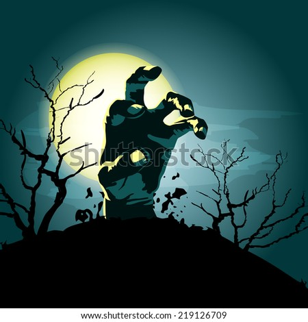 Hand zombie out of the grave and the moon. Halloween vector background - stock vector
