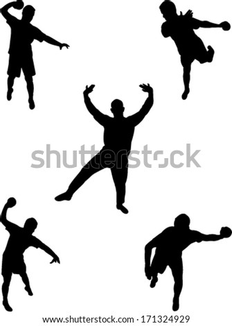 handball players collection vector - stock vector