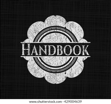 Handbook chalk emblem, retro style, chalk or chalkboard texture - stock vector