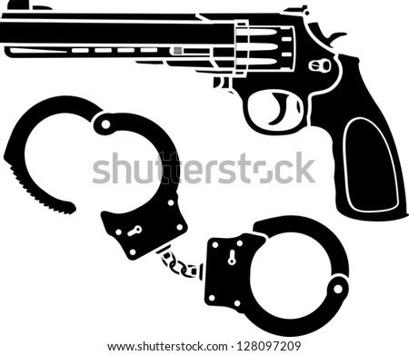 handcuffs and pistol. stencils. vector illustration - stock vector