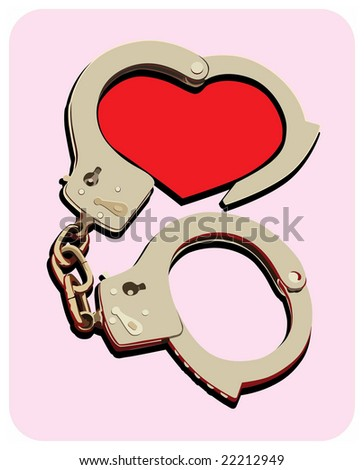 handcuffs and red heart - stock vector