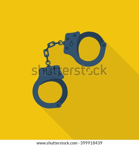 Handcuffs icon. Handcuffs cartoon icon. Vector illustration. Flat design style. Handcuffs isolated with long shadow. Arrest symbol. Jail icon. Punishment for crime. Law justice. - stock vector
