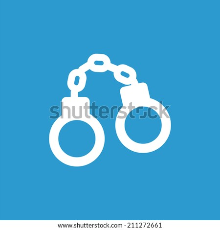 handcuffs icon, isolated, white on the blue background. Exclusive Symbols  - stock vector
