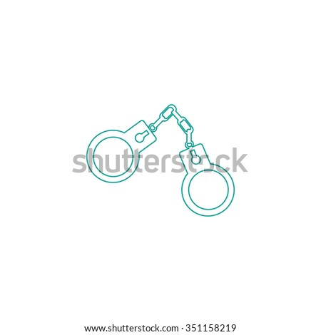 Handcuffs Outline vector icon on white. Line symbol pictogram  - stock vector
