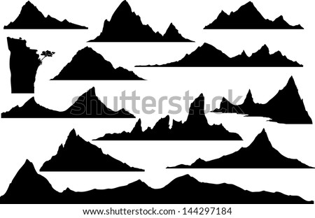 Mountain Silhouette handdrawing silhouettes mountains design stock vector 144297184