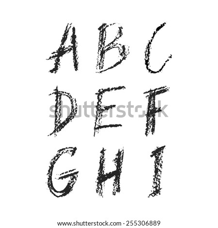 Handdrawn charcoal font - vector file with separated letters A, B, C, D, E, F, G, H, I. Real charcoal texture. - stock vector